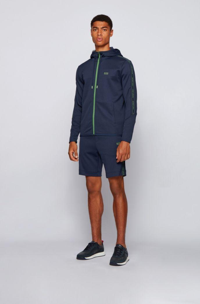 Sweat à capuche en coton mélangé double face avec bande logo