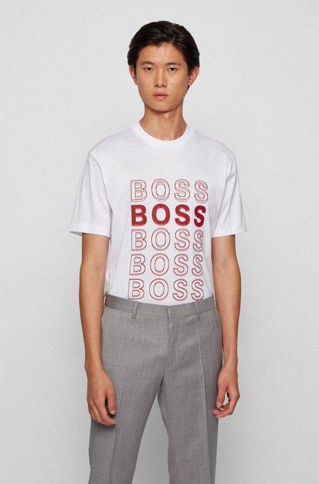 T-Shirt aus merzerisierter Baumwolle mit Logo-Artwork, Weiß