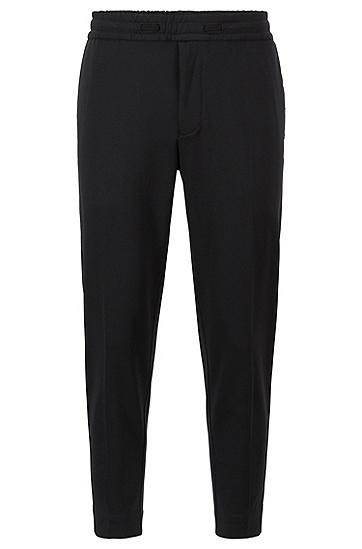棉混纺弹力平纹针织面料锥形裤,  001_黑色
