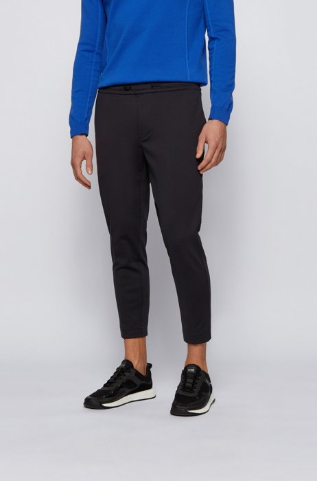 Tapered-fit trousers in cotton-blend stretch jersey, Black