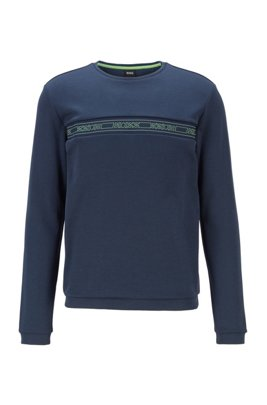 Slim-fit sweatshirt in a cotton blend , Dark Blue