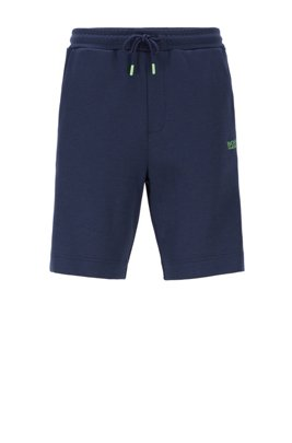 Drawstring-waist shorts with logo-tape leg inserts, Dark Blue