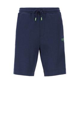 Short avec taille à cordon de serrage et rubans logo sur la jambe, Bleu foncé
