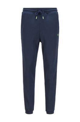 Pantalon de survêtement en coton mélangé, à ruban logo, Bleu foncé