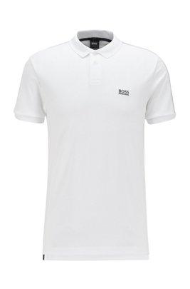 Polo en coton interlock à rubans logo, Blanc