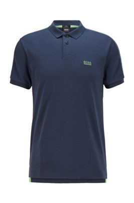 Poloshirt aus Interlock-Baumwolle mit Logo-Tape, Dunkelblau