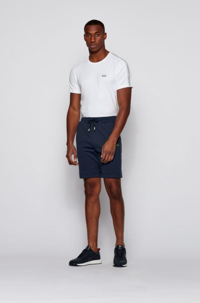 Crew-neck T-shirt in interlock cotton with sleeve logos