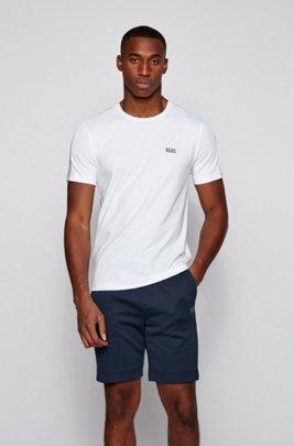 Crew-neck T-shirt in interlock cotton with sleeve logos, White