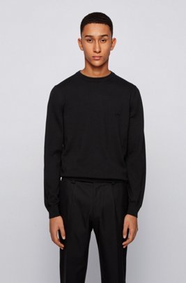 Embroidered-logo sweater in Italian cotton, Black