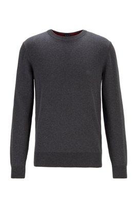 Embroidered-logo sweater in Italian cotton, Dark Grey