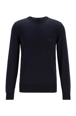 Embroidered-logo sweater in Italian cotton, Dark Blue