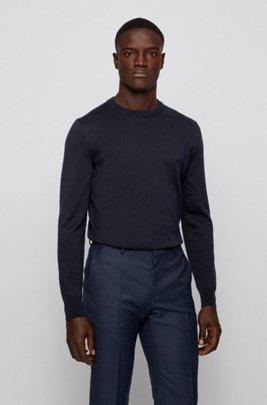Embroidered-logo sweater in Italian cotton, Dark Blue