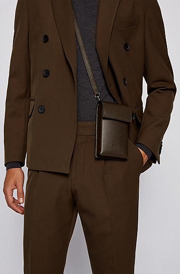 搭配可拆卸肩带的意大利皮革单肩包,  301_暗绿色