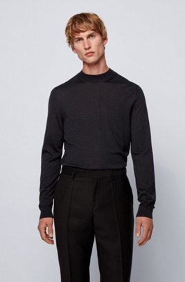 Mock-neck sweater in a wool blend, Black