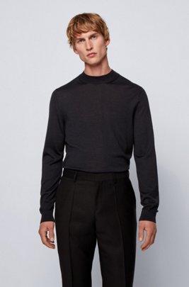 Pull à col montant en laine mélangée, Noir