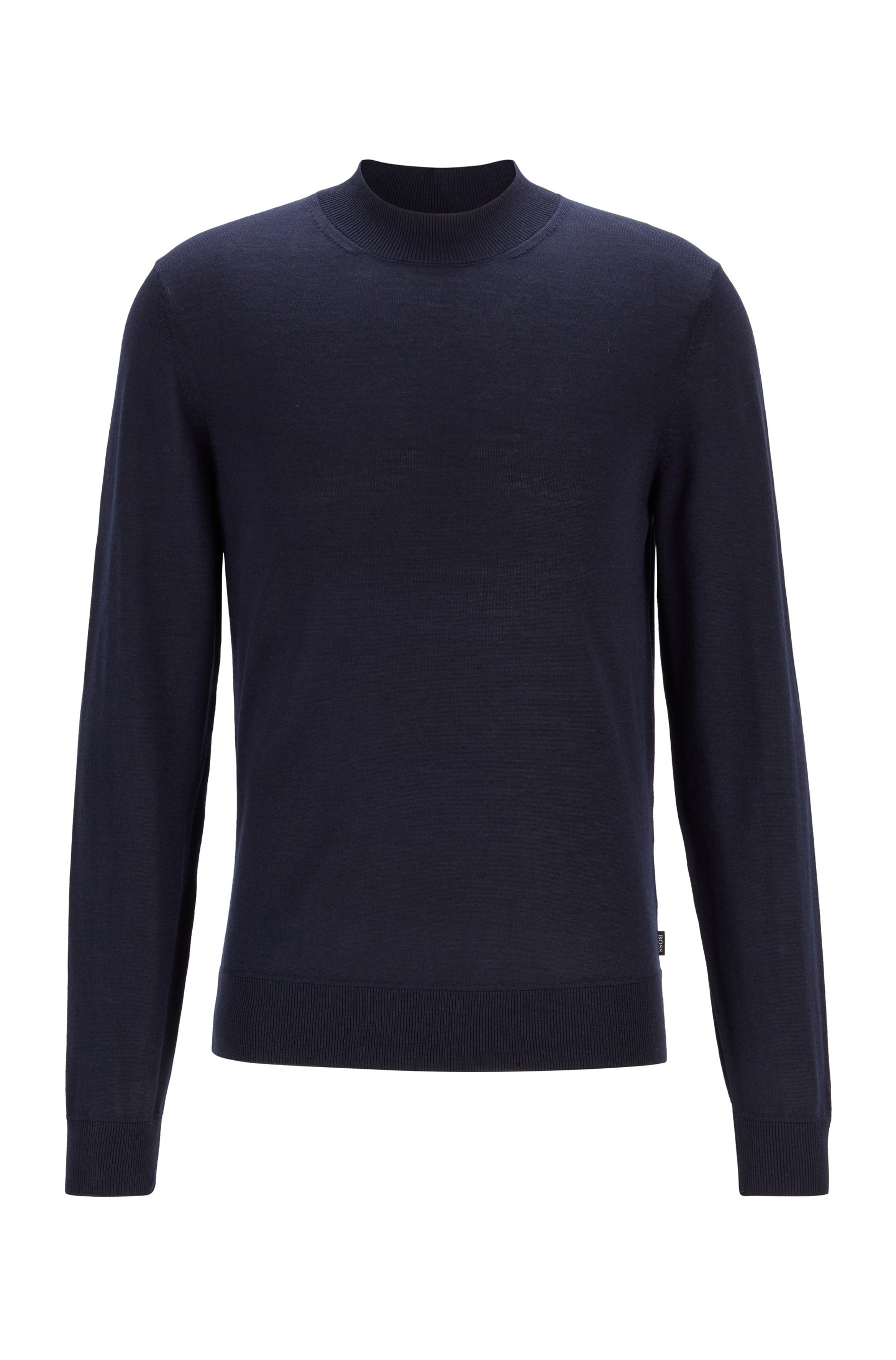 Mock-neck sweater in a wool blend, Dark Blue