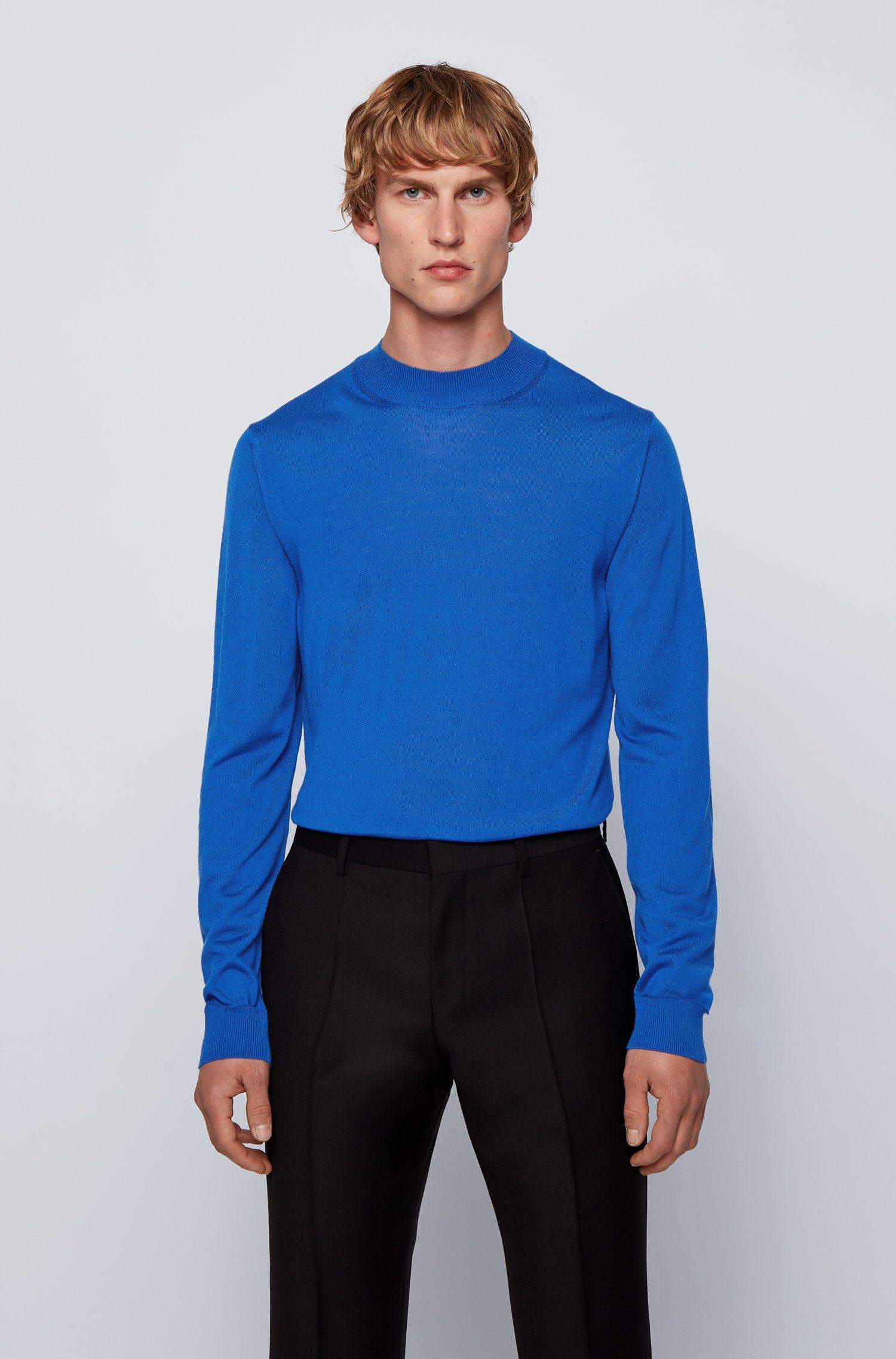 Mock-neck sweater in a wool blend, Light Blue