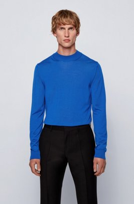 Mock-neck sweater in a wool blend, Light Blue