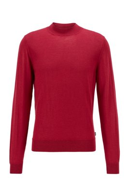 Mock-neck sweater in a wool blend, Dark Red