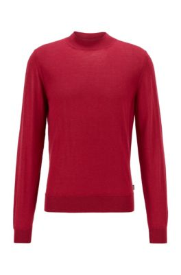 Mock-neck sweater in a wool blend, Dark Red