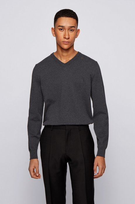 V-neck sweater in cotton with embroidered logo, Light Grey