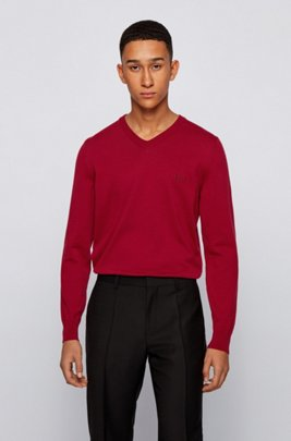 V-neck sweater in cotton with embroidered logo, Dark Red