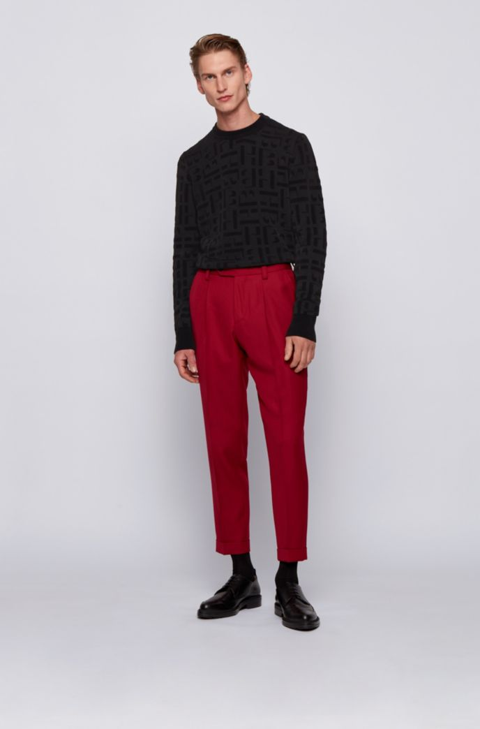 Crew-neck sweater with jacquard-knitted monograms