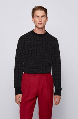 Crew-neck sweater with jacquard-knitted monograms, Black