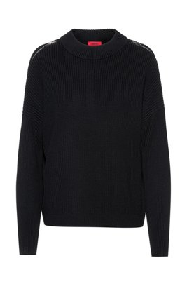 Chunky-knit sweater with shoulder zips in organic cotton, Black
