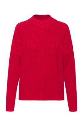 Grofgebreide trui van biologische katoen met ritsen op de schouders, Rood