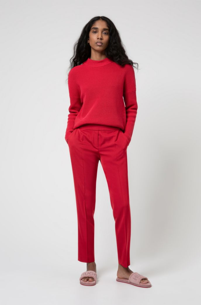 Chunky-knit sweater with shoulder zips in organic cotton