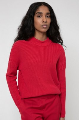 Chunky-knit sweater with shoulder zips in organic cotton, Red