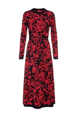 A-line dress with jacquard-woven cherry-blossom print, Patterned