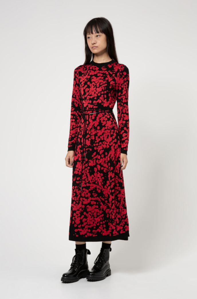 A-line dress with jacquard-woven cherry-blossom print