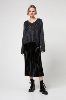 Chunky-knit relaxed-fit sweater with metallic foil print, Black