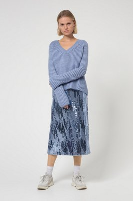 Chunky-knit relaxed-fit sweater with metallic foil print, Blue