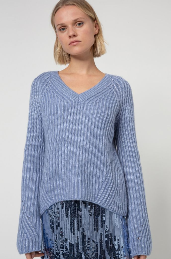 Chunky-knit relaxed-fit sweater with metallic foil print