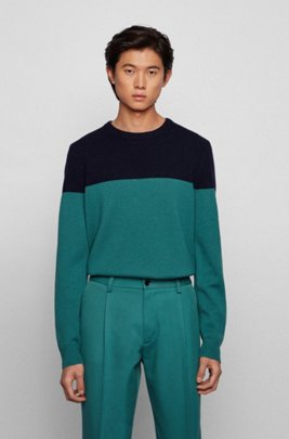 Crew-neck sweater in virgin wool with brushed panel, Light Green