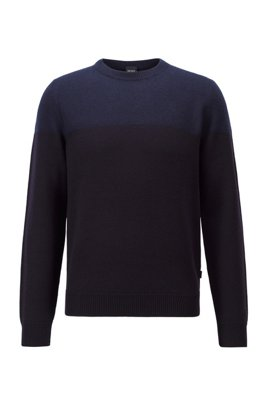 Crew-neck sweater in virgin wool with brushed panel, Dark Blue