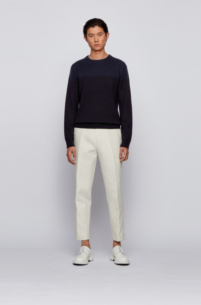 Crew-neck sweater in virgin wool with brushed panel