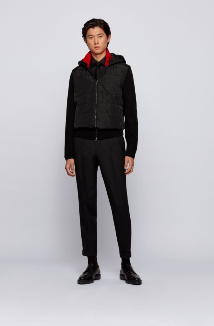 Regular-fit hooded jacket in mixed materials