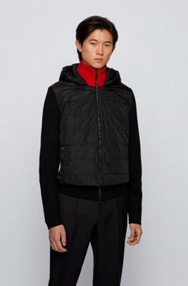 Regular-fit hooded jacket in mixed materials, light pink