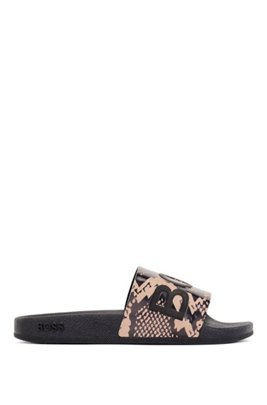 Italian-made python-print slides with raised logo, Brown