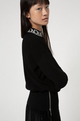 Relaxed-fit sweater with logo-jacquard mock neckline, Patterned