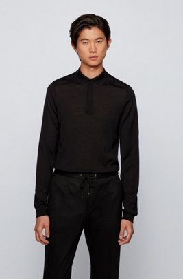 Polo-neck sweater with gold-toned trims, Black