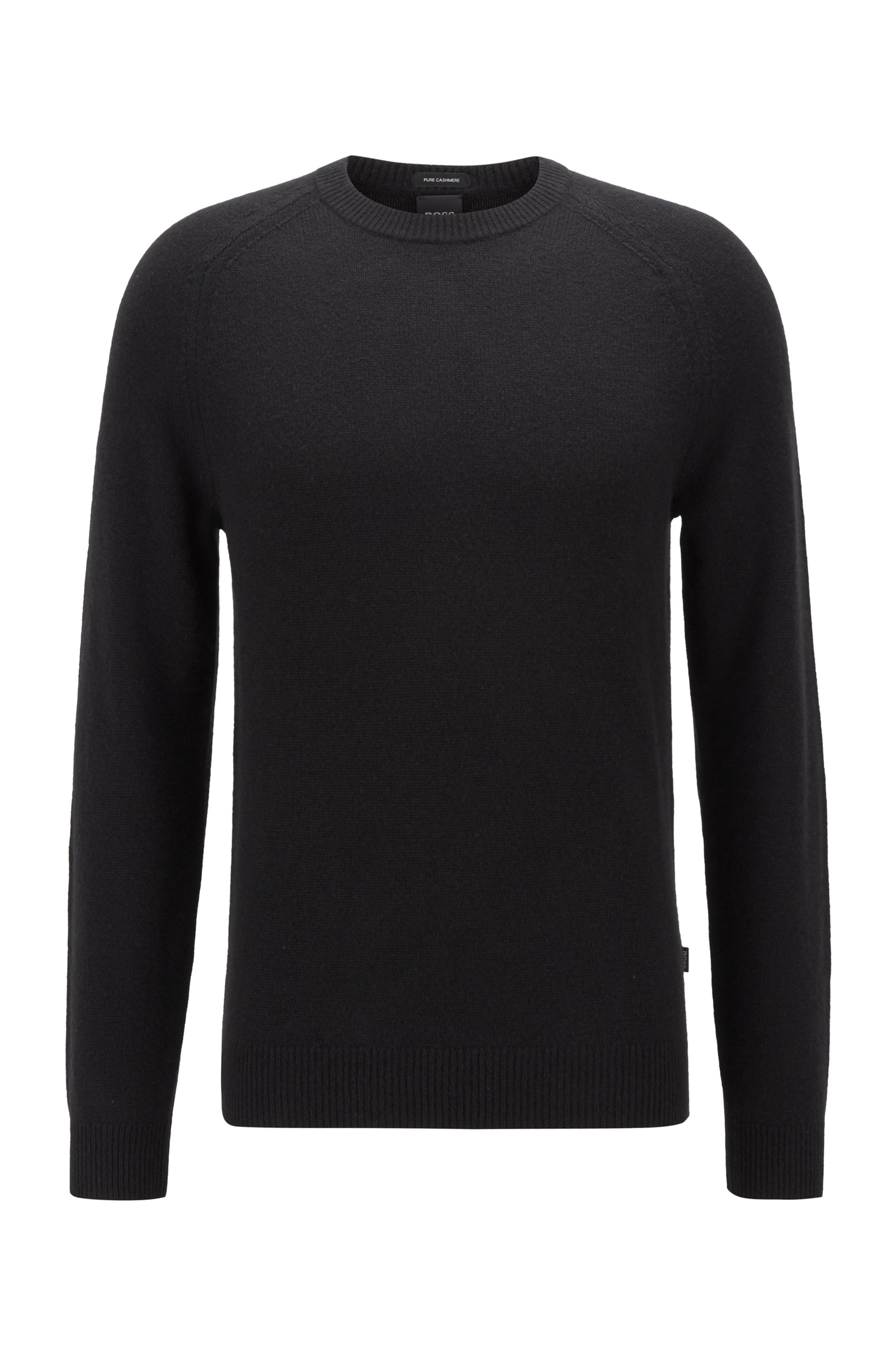 Regular-fit sweater in pure cashmere, Black