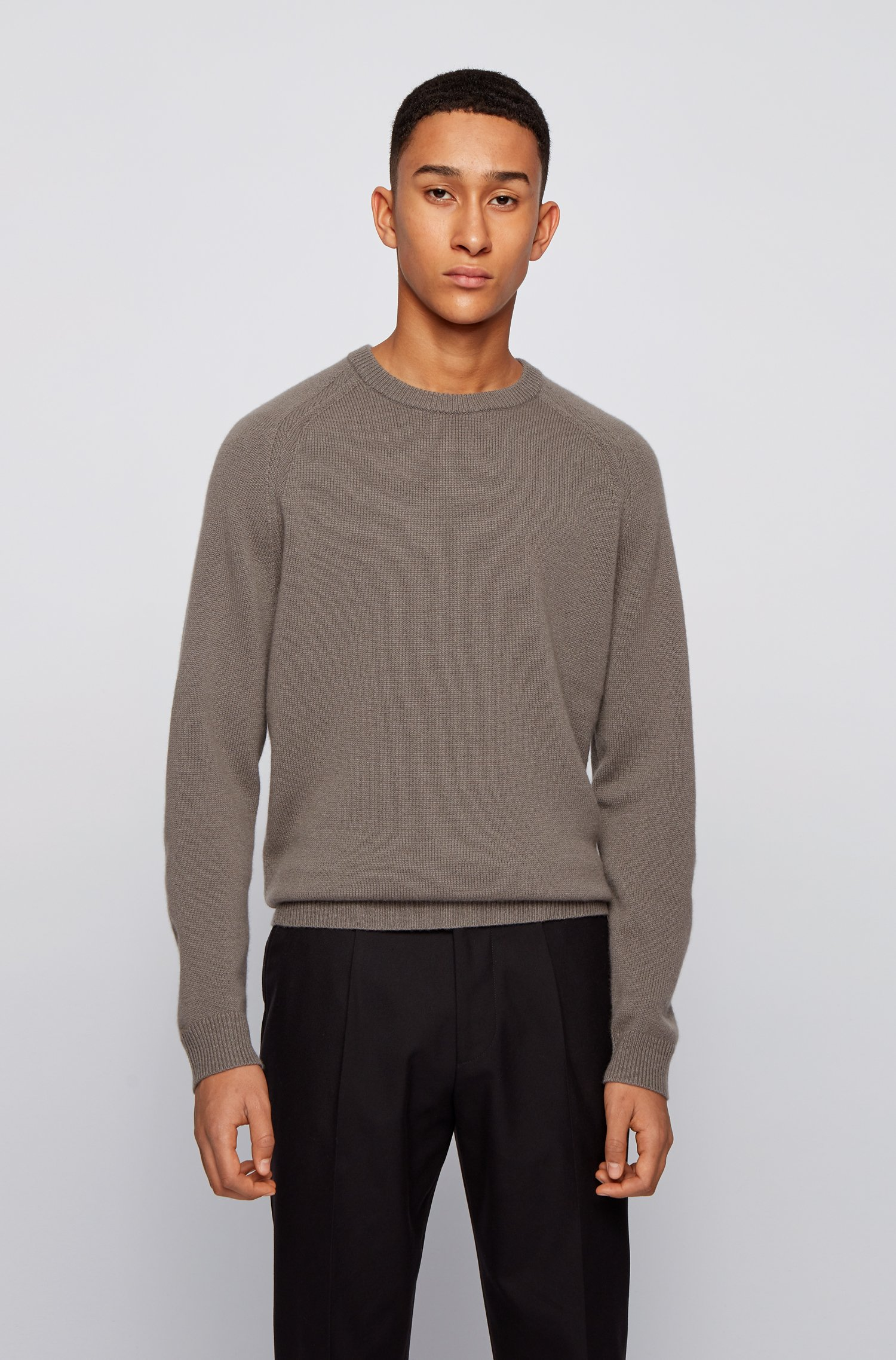 Regular-fit sweater in pure cashmere, Light Grey