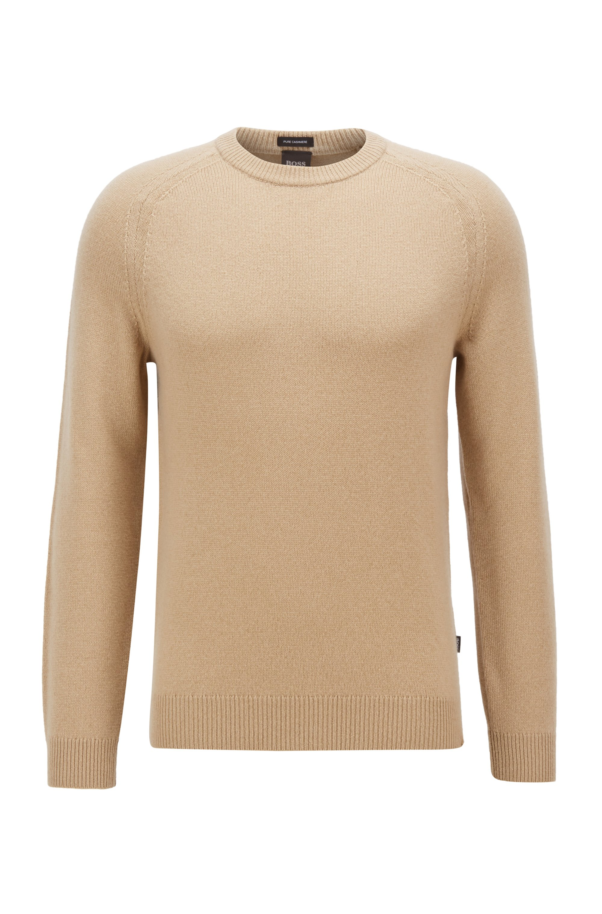 Regular-fit sweater in pure cashmere, Light Beige