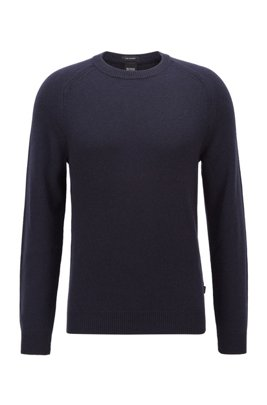 Regular-fit sweater in pure cashmere, Dark Blue