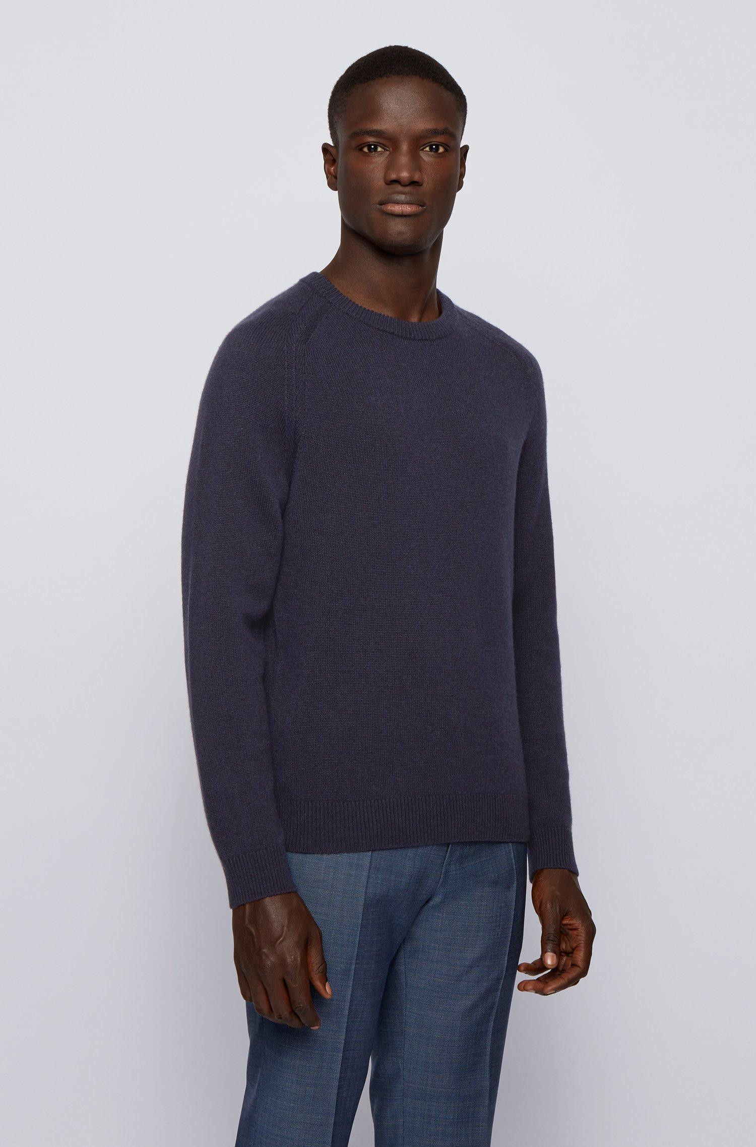 Regular-fit sweater in pure cashmere, Dark Blue